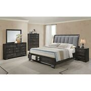 Transitional 4pc King Size Fabric Upholstered Bed Dresser Mirror Ns Furniture