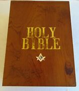 Masonic Vintage Solid Wood Masonic Bible Box With Square And Compasses.