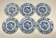 (6)antique Meissen Germany Blue Onion (swords Front And Back) 7 7/8andrdquo Plates Mint