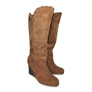 Ugg Womens Size 7 Chestnut Brown Luxe Line Aprelle Tall Wedge Heel Boots 3195