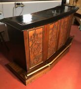 """Vintage Hand Carved Japanese Bar 6' Long 41"""" Tall Stone Top"""