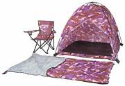 Pacific Play Tents 23333 Kids Pink Camo Dome Tent Set With Sleeping Bag And C...
