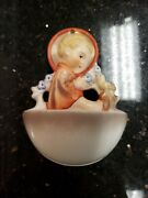 Vintage Mj Hummel Angel Sitting With Bird Holy Water Wall Pocket, W. Germany