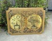 Vintage 1960's Masketeers Brass On Wood Frame Old World Map Mcm Wall Decor 1618