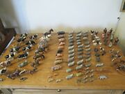 Collection Of Lead Farmyard Animals And Figures With Carts/kennels Etc.