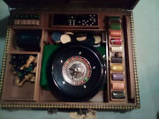 Vintage Antique Game Set Roulette Dominoes Cribbage Checkers Chess Dice
