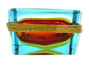Vintage Red Amber Blue Glass Box Murano Flavio Poli Collectible Sommerso Glass