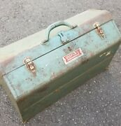 Vintage Military Issue Steel Tool Box Army Green Metal Duplex Fort Smith Arkans