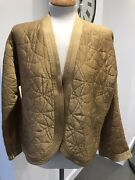 Womenand039s Vintage Sahara Gold Dull Satin Quilted Bolero Jacket Size L