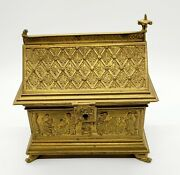 Antique Stylish Gothic Revival Gilt Bronze And Brass Church Relic Or Jewelry Box