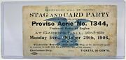 Vintage 1906 Boxing Card And Stag Party Ticket Stub W/ Hard Plastic Holder
