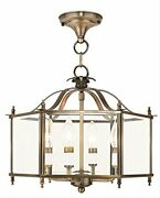Chandeliers 4 Light With Clear Beveled Glass Antique Brass Size 16 In 240 Wat...