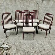 Danish Mid Century Modern Set Of 8 Rosewood Dining Chairs By Benny Linden