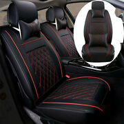 Leather Car Seat Cover Protector Cushion Universal 5-seats Suv Front Rear Set Us