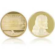 Jesus Gold Plated Metal Coin Challenge Commemorative Coin With Plastic Shell