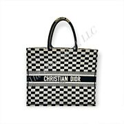Authentic Dior Book Tote Limited Edition Black And White Checkered Large