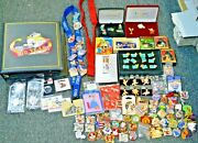 Disney Lot Of 217 Collectible Pins Book And 2 Lanyards Many New