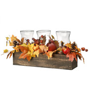 24 In. Maple Leaves Candleholder Centerpiece Thanksgiving Faoll Holiday Season