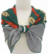 """Tiffanyandco Silk Scarf Shawl Red Green Gold Rope Christmas 34""""square 1986 Vintage"""