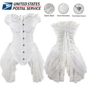 Women Floral Embroidery Vintage Gothic Corset Dress Skirts Halloween Bustiers Us