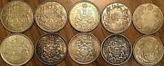 Lot Of 10 Canada Silver 50 Cents Coins - Silver Invest Lot A8