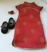 Asian American Girl Ivy Ling Chinese New Year Outfit Dress Shoes Hair Clip Euc