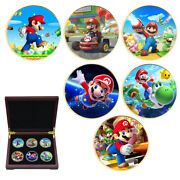 6pcs Decoration Crafts Gold Plated Super Mario Commemorative Metal Coin Gifts
