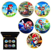 6pc Children Luxury Gifts Gold Plated Coin Super Mario Commemorative Metal Coin