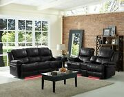 Sofa And Loveseat 2pc Set Lighting Base Power Reclining Black Color Polyster