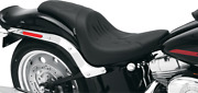 Drag Specialties Slim Smooth Flamed Leather Seat Wide Tire For Softail Fatboy