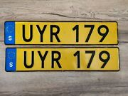 Sweden Pair License Plate Yellow Taxi Uyr 179 Rare