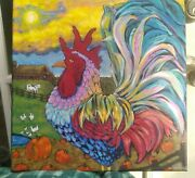 Rooster Painting Farmhouse Decor Barn Cow Duck's Chicken's Sunshine Painting