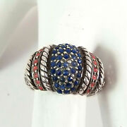 Vintage Ibb Sterling Silver Ring Red White Blue Crystal Dome Size 7