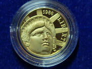 🌟1986-w Us Gold 5 Statue Of Liberty Commemorative Proof - Coin In Capsule