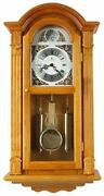 Justime 29-inch Tall Deluxe Elaborate Oak Solid Wood Pendulum Wall Clock Rich...