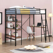 Industrial Style Metal Twin Loft Bed With 3-tire Shelves And A Desk