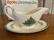 Spode England Christmas Tree Gravy Sauce Boat And Stand Plate Mint In Box