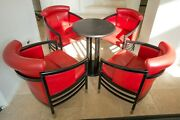 Set Of 4 Michael Thonet Red Designer Armchairs Chair Chairs Vienna 1980 +table