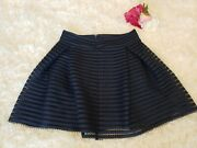 Express Size 6 Womenand039s Skirt Back-zip Flared Mini Navy Pleated