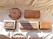 Antique Victorian/edwardian Anglo Indian Silver Inlaid Box Hand Carved Painted