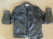Vintage Schott Black Leather Motorcycle Jacket 44 Tall Usa Made