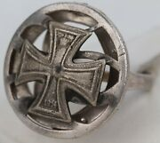 Ww2 German Officer's Ring Box Iron Cross Sterling Silver 835 Wwi Wwi Or Wwii Ger