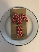 Set Of 12 Vintage Inspired 4 Chenille Candy Canes Christmas Tree Ornaments