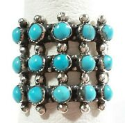 925 Sterling Silver Beaded Southwest Style 15 Stones Turquoise Size 11 Ring