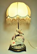 Collectible - Italian Capodimonte Figurine And Lamp W/shade Signed By Cazzola