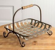 New Farmhouse Basket French Country Primitive Metal Tobacco Style Rustic 11 Sq