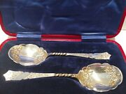 Stunning Victorian Conserve Spoons Red Leather Case Exquisite Silver Plate