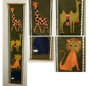 Vintage Swedish Fabric Wall Hanging Childs Height Chart 1960s Mid Century Modern
