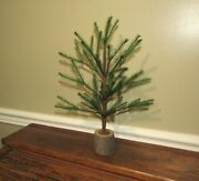 Primitive Antique Vtg Style 12 Green Feather Christmas Tree W/ Wood Base