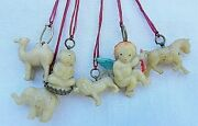 Vintage Figural Celluloid Early Plastic Charms/prizes Buddha /angel